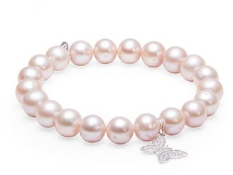 Sydney Evan 14K White Gold, 8MM Pink Pearl & Diamond Butterfly Charm Beaded Bracelet