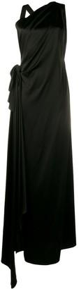 Osman Black sleeveless side slit dress