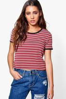 Boohoo Emilia Striped Rib Ringer T-Shirt