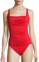 Calvin Klein Square Neck Gathered Swimsuit