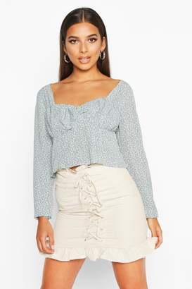 boohoo Ditsy Print Long Sleeve Peplum Top
