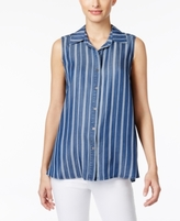 Style&Co. Style & Co Style & Co Petite Striped Denim Button-Back Shirt, Created for Macy's