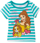 Children's Apparel Network Girls' Tee Shirts GREEN - Palace Pets Green Stripe 'Bows for Teacup' Cap-Sleeve Top - Toddler