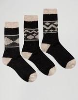 Asos Boot Socks With Fair Isle Design 3 Pack