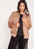 Missguided Plus Size Two Tone Satin Bomber Jacket Camel