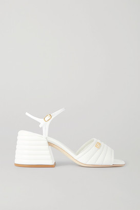 Fendi Logo-embellished Quilted Patent-leather Sandals - White