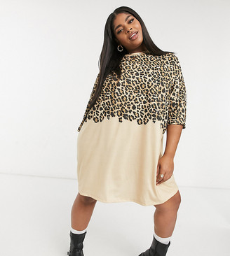 ASOS DESIGN Curve oversized t-shirt dress in tonal half and half leopard print