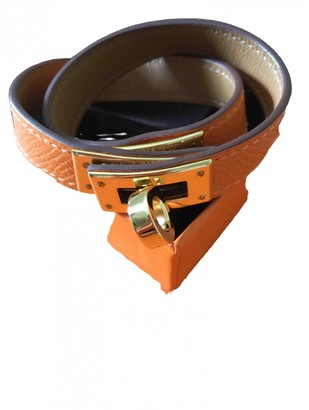 Hermã ̈S HermAs Kelly Double Tour Orange Leather Bracelets