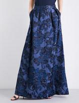 St. John High-rise A-line floral brocade skirt