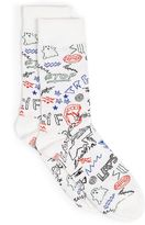 Topman White Scribble Socks