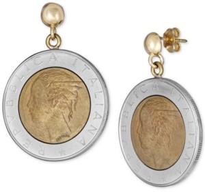 Italian Gold Lire-Look Coin Drop Earrings in Sterling Silver & 14k Gold Vermeil