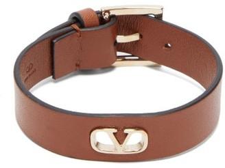 Valentino V-logo Leather Bracelet - Mens - Tan