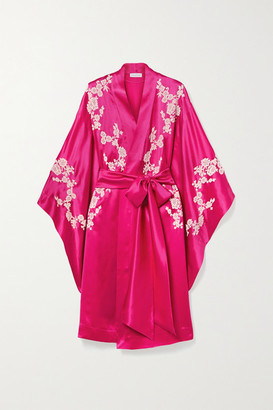 Carine Gilson Chantilly Lace-trimmed Silk-satin Robe - Bright pink