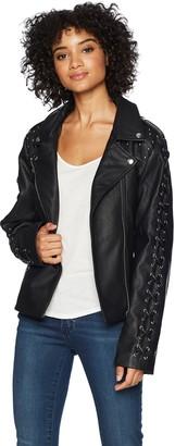 Members Only Women's Vegan Leather Biker Jacket