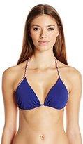 Shoshanna Women's Cosmic Blue Solid Braid Triangle Bikini
