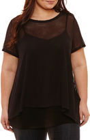 Boutique + + Short Sleeve Sheer Stripe T-Shirt-Plus