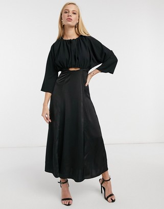 ASOS DESIGN premium casual batwing sleeve mixed fabric textured maxi dress in black