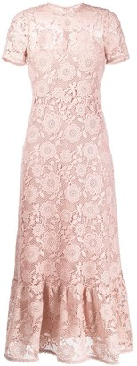 RED Valentino Floral Crochet Short-Sleeve Dress