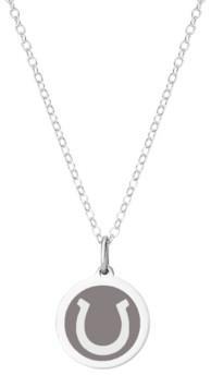 "Auburn Jewelry Mini Horseshoe Pendant Necklace in Sterling Silver and Enamel, 16"" + 2"" Extender"