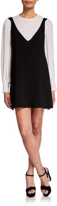 Cinq à Sept Mercer Layered Long-Sleeve Short Dress