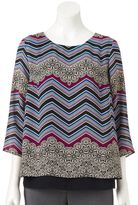 Dana Buchman Women's Zigzag Layered Top