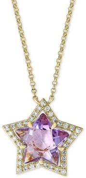 "Effy Amethyst (2 3/8 ct. t.w.) & Diamond (1/6 ct. t.w.) 18"" Pendant Necklace in 14k Gold"