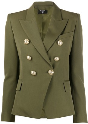 Balmain Peaked Lapel Double-Breasted Blazer