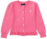 Ralph Lauren Girls' Ruffled Pima Cotton Cardigan - Little Kid