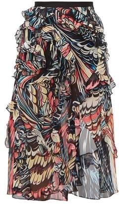 Mary Katrantzou Abstract Print Front Slit Silk Georgette Skirt - Womens - Black Multi
