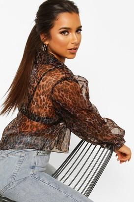 boohoo Petite Leopard Organza Cropped Shirt