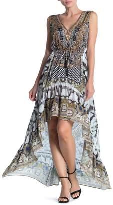 Shahida Parides Printed Embellished Drawstring Waist High/Low Dress