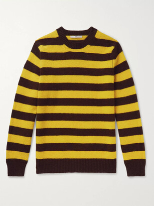 Connolly - Goodwood Striped Melange Shetland Wool and Cashmere-Blend Sweater - Men - Yellow