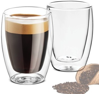Shopokus Double Walled Glass Coffee Mugs - 9 Ounce (2 Pack) Insulated Tea Glasses, Drinking Cups, for Latte, Espresso, Cappuccino, Water, Juice, for Hot - Cold Beverages Thermal Shock Resistant
