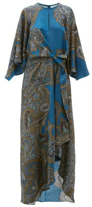 D'Ascoli Samovar Paisley-print Silk-twill Maxi Dress - Womens - Blue Multi