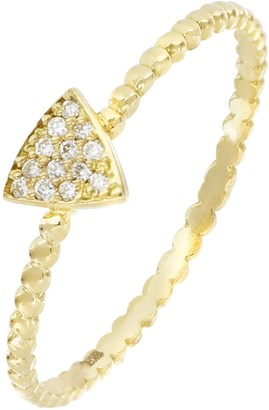 Bony Levy Prism 18K Yellow Gold Pave Diamond Petite Triangle Shape Beaded Ring - 0.04 ctw
