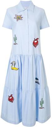 Mira Mikati Embroidered Flared Shirt Dress