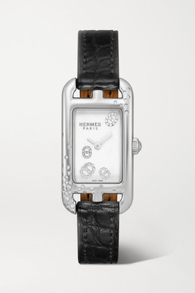 HERMÈS TIMEPIECES Nantucket 17mm Very Small Stainless Steel, Alligator And Diamond Watch - Black