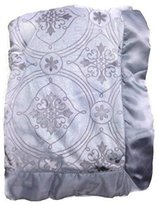 Wendy Bellissimo Baby Boys' Royal Grey Scroll Minky Velour Satin Trim Nursery Blanket by