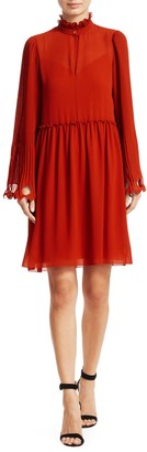 Chloé Ruffled Collar Bell Sleeve Georgette Shirtdress