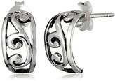 Barse Sterling Silver Ornate Scroll Half Hoop Earrings