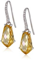 Kenneth Jay Lane Fine Jewelry Sterling Silver, Citrine and White Topaz Dangle Drop Earrings