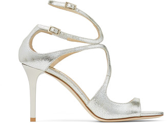 Jimmy Choo IVETTE Champagne Glitter Leather Strappy Sandals