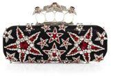 Alexander McQueen Long Star Crystal & Satin Knuckle Box Clutch