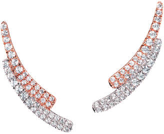 Graziela Gems Curve Rose Gold Over Silver 0.89 Ct. Tw. Natural White Zircon Ear Climbers