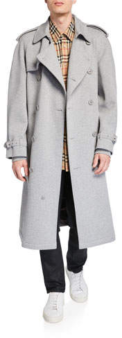 Burberry Men's Double-Breasted Jersey Trench Coat