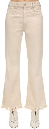 Isabel Marant Elvira Frayed Cotton Denim Pants