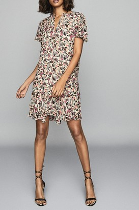 Reiss Stina Pink Floral Print Dress