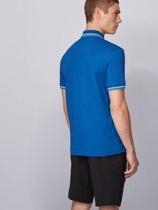 HUGO BOSS Paul Curved Logo Tipped Collar Polo Shirt - Open Blue