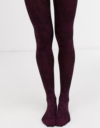 Jonathan Aston snakeskin tights in burgundy