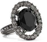 Oscar de la Renta Gunmetal-tone Crystal Ring - one size